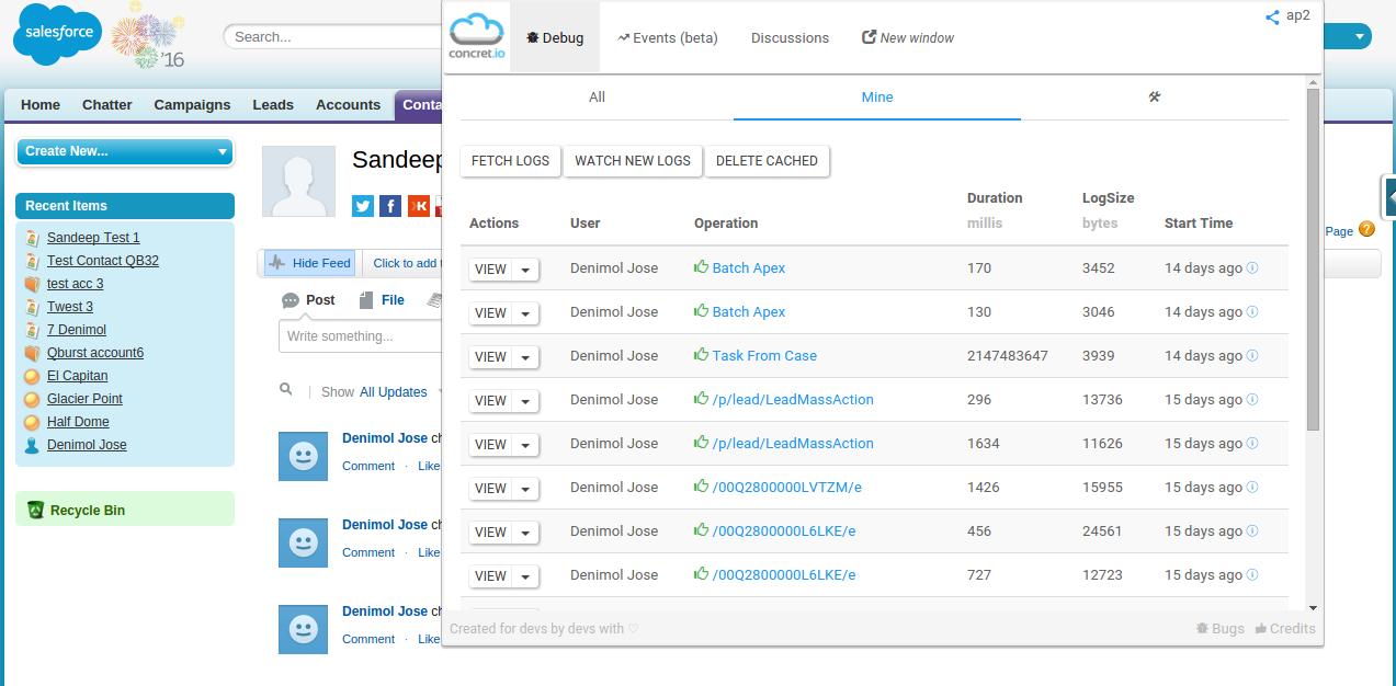 Debug Log Screen using Developer Tool Suite Guide