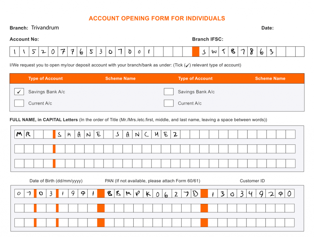 KYC form used for handwriting extraction