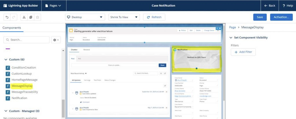 Flexible components in Salesforce Notification app
