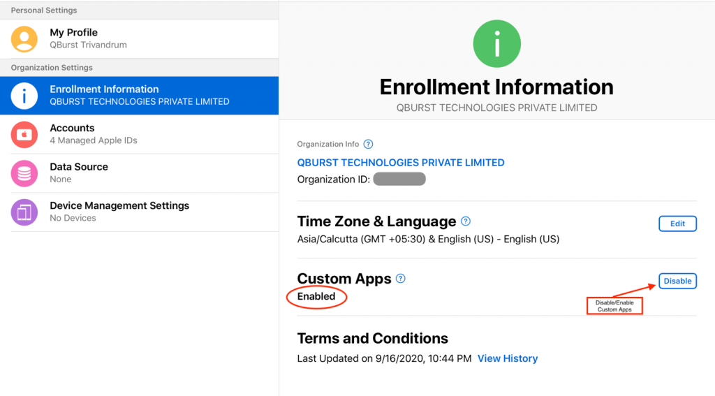 (Disable/Enable Custom Apps): Organization info screen