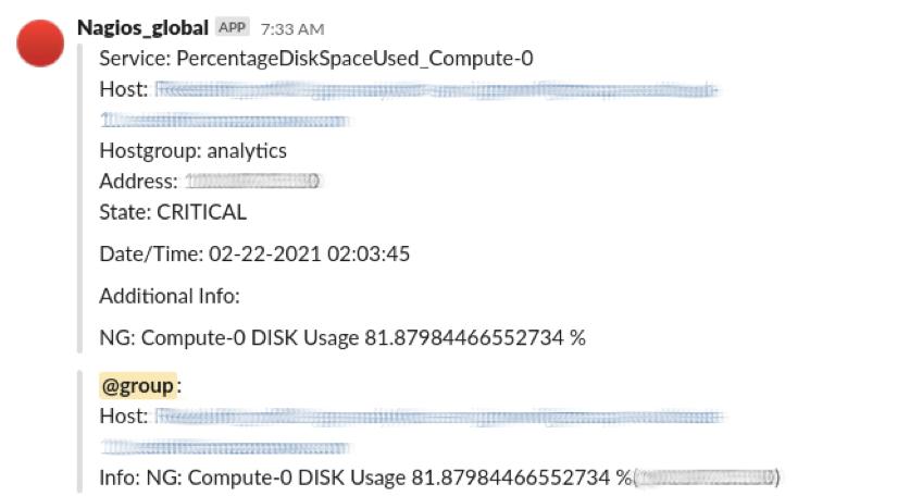 Nagios Alert Disk Usage