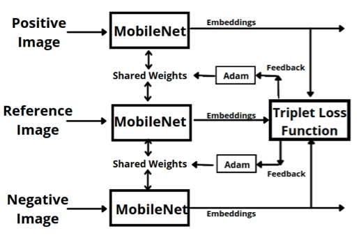 Siamese network for computing similarity