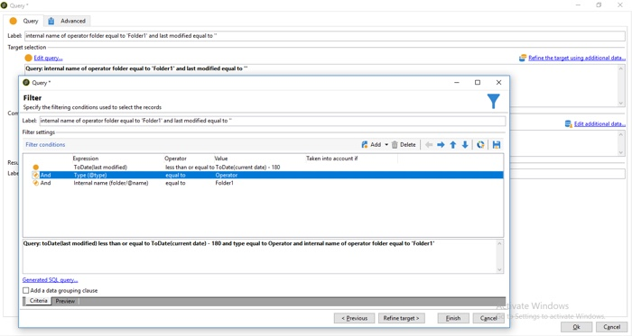Setting query conditions in Adobe Campaign