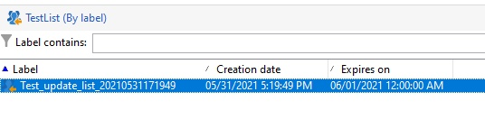 List in Profiles and Targets tab with the expiry date in Adobe Campaign